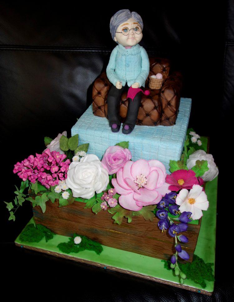 babička a kvety